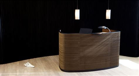 Impact reception desk Cardboard front, painted steel and