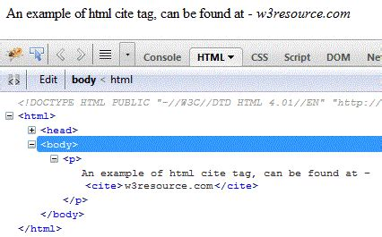 HTML cite tag and element - HTML tutorials - w3resource