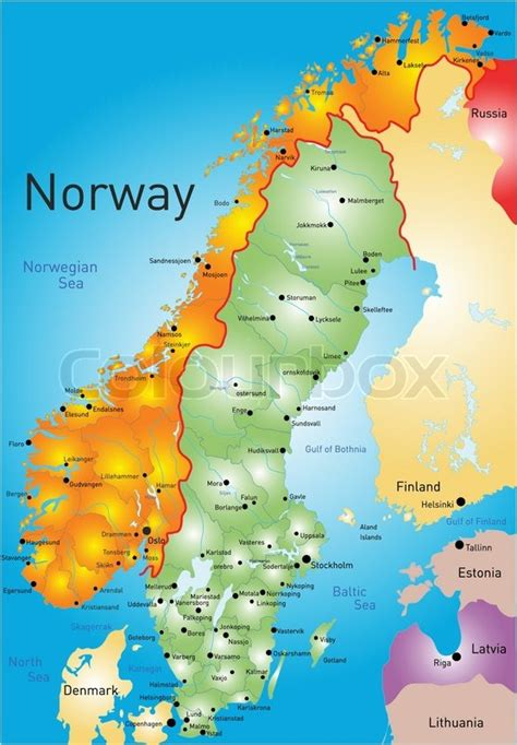 Vector color map of Norway country   Stock Vector   Colourbox