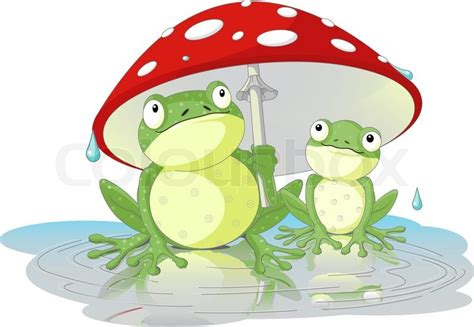 Two frogs are hiding from the rain