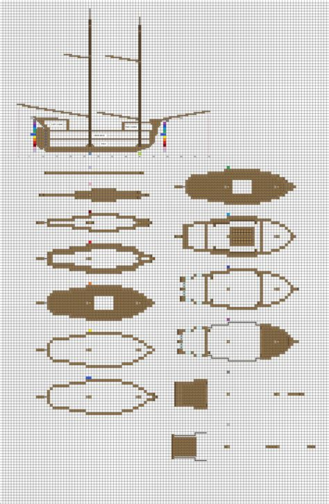 Minecraft sailing Brig plans pg1 hull by ColtCoyote