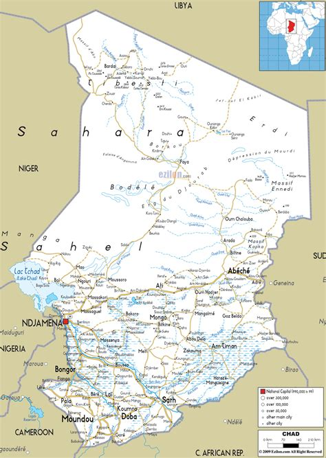 Detailed Clear Large Road Map of Chad - Ezilon Maps